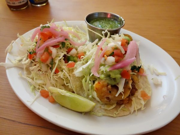 Two tacos at El Sirenito: one with rockfish and one with shrimp. Maybe the best fish tacos I've had in Seattle.
