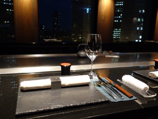 The elegant setting at the start of a meal at Yamanami.