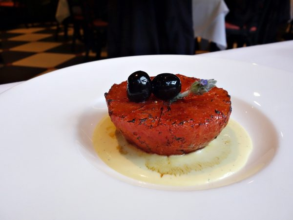 So simple, yet so elegant: grapefruit brulee with Luxardo cherries and rosemary creme anglaise at Brennan's.