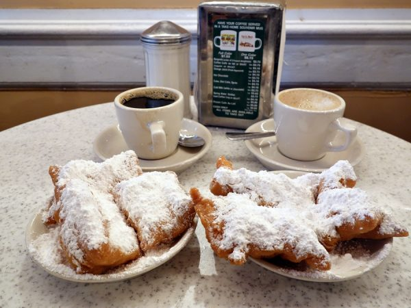 Two orders of beignets, plus coffee straight and au lait.