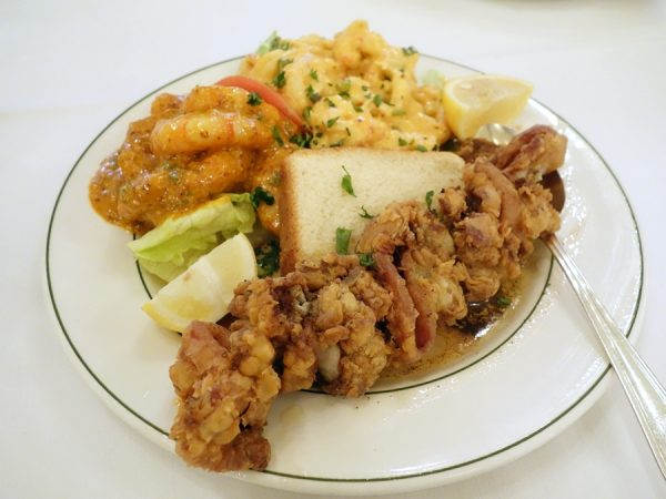 Galatoire's Goute w/crawfish maison, shrimp remoulade and fried oysters/bacon. Especially loved the remoulade!