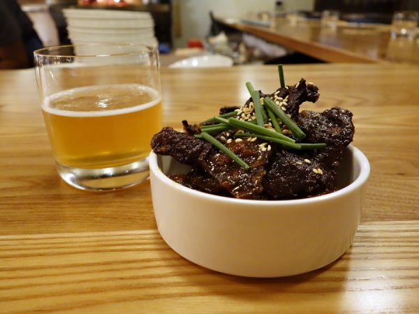 """""""The Original Provision"""": Wagyu beef jerky with spicy chili preserve. This soft, tender jerky was unlike any jerky I've tried in the past. Amazing and addictive! Paired with Cerveza Er Boqueron """"Sea Salt Ale"""" and Carpano Bianco Vermouth."""