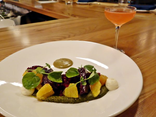 Another favorite dish, gorgeous and delicious: a variety of beets with honey-chevre, chermoula, orange, and pistachio praline. (Beets and pistachio. Wow!) Beverage pairing: Blanco Tequila, Meletti 1870 Bitter, Dolin Blanc Vermouth, honey and lime.