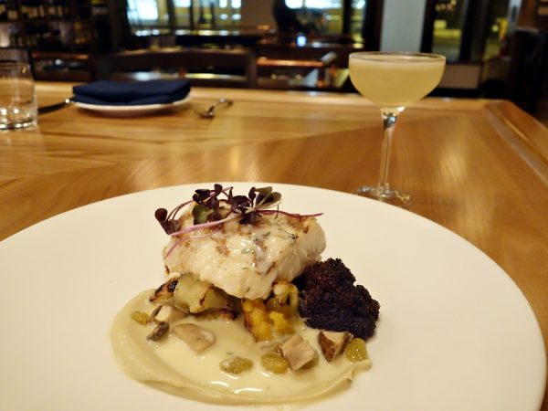 Ling cod with cauliflower, pickled mushrooms, golden raisins and thyme butter. I like all these components together. Pairing: Yzaguirre Blanco Vermouth, Yzaguirre Dry Vermouth, Benedictine and lemon.