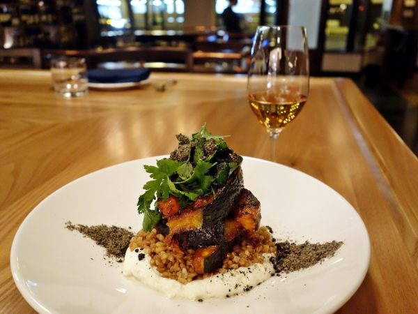 A fun part of a tasting is getting dishes I might not have ordered on my own, like this tasty kabocha squash with chevre, smoked einkorn, black sesame and sofrito. Pairing: Plantation Nicaragua Rum, Dolin Rouge Vermouth, Falernum and Verjus.