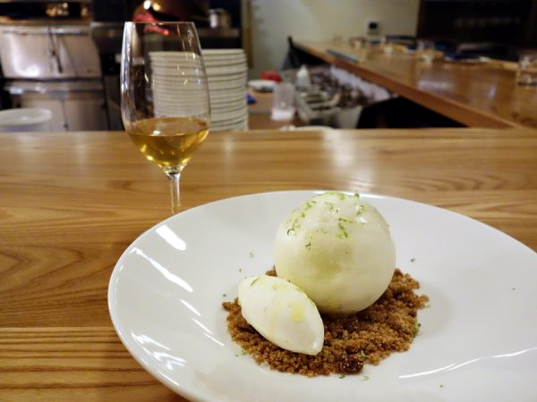 How's this for fun? Break the shell to get at the key lime mousse with graham cracker streusel and creme fraiche ice cream. Paired with Apolloni Vineyards Dolce Viognier, Ron del Barrolito Rum and Becherovka.