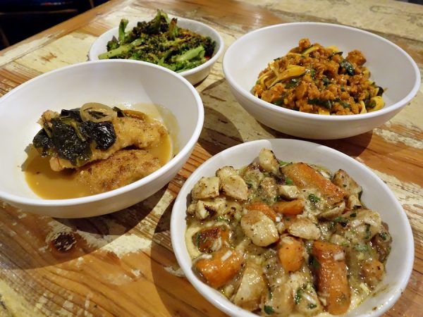 Some small plates are a must at Peche. Favorite item is bottom left: catfish with pickled greens and chili broth. (Continuing clockwise: sauteed broccoli with lemon and bottarga, spicy ground shrimp and noodles, baby carrots and turnips roasted with chickpea puree and pickled leek vinaigrette.)