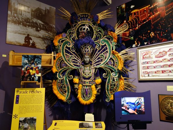 Mardi Gras costume, on display at The Presbytère.