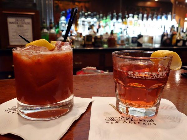 Mocktail and a sazerac at The Sazerac Bar in The Roosevelt hotel.