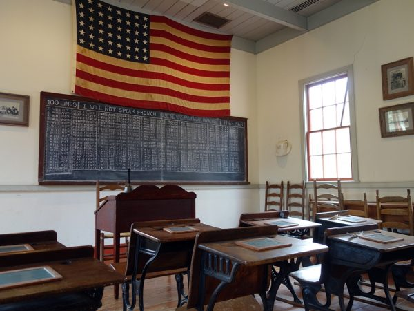 Inside a schoolhouse at Vermilionville