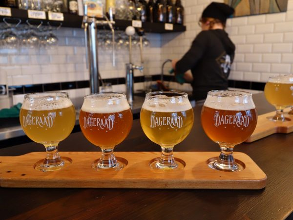Beer flight at Dageraad Brewing