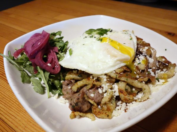 Crispy spaetzle and eggs at The Fork at Agate Bay