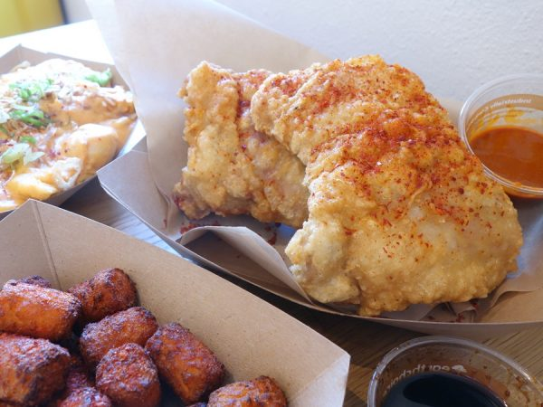 Bok a Bok's boneless chicken thighs, with sweet potato tots and kimchi mac n' cheese