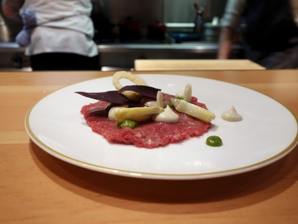 Lamb tartare with artichoke and mint pistou at Scout.