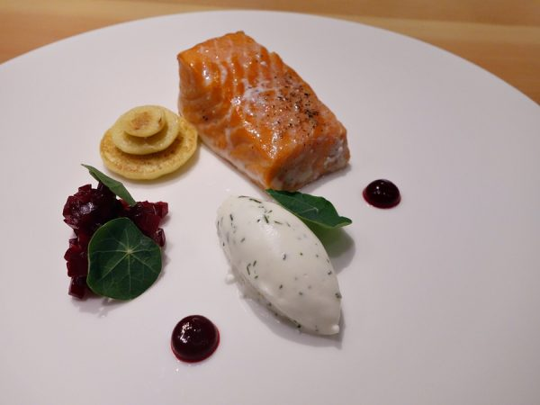 Scout's smoked salmon (a little Weber at the chef's counter!) with beet relish, blini and dill crème fraiche.