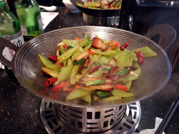 Then, a nice lunch at Guyi Hunan Restaurant. Vegetables with very smoky bacon.