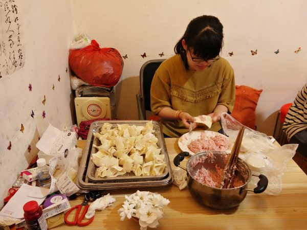 Dumpling-making during the Lost Plate tour