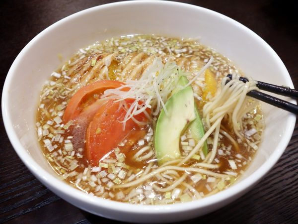 Shoyu ramen, with fruits and vegetables