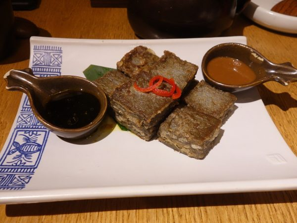 Lijiang-style beancurd made from local chickpeas at Yun Hai Yao. With two dipping sauces.