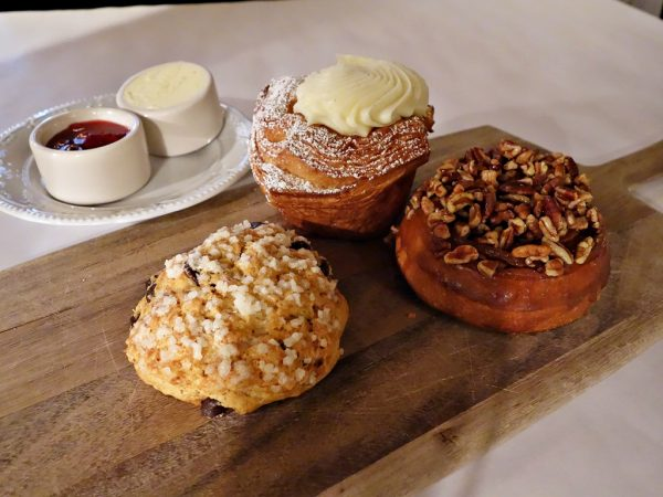 Pastry selection at Bouchon: orange-chocolate scone, cheese Danish, and a pecan sticky bun