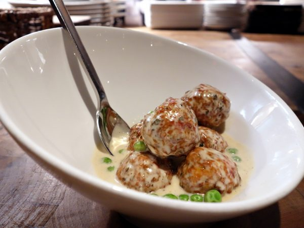 Favorite dish at Carson Kitchen: veal meatballs with sherry foie gras cream