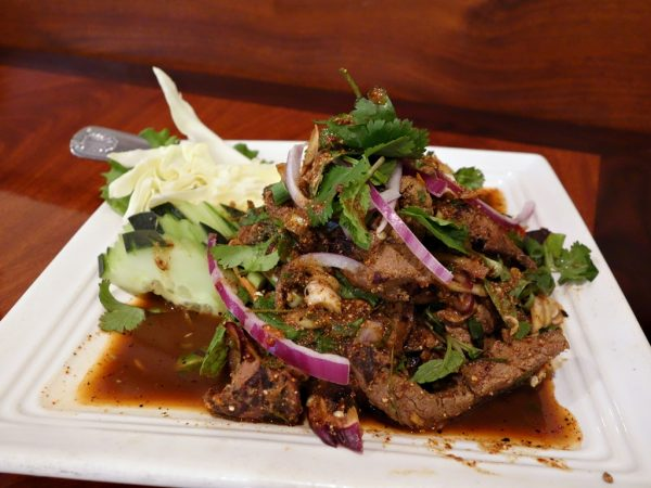 Lotus of Siam's tub wharn: charbroiled beef liver with green onions, lime and chili