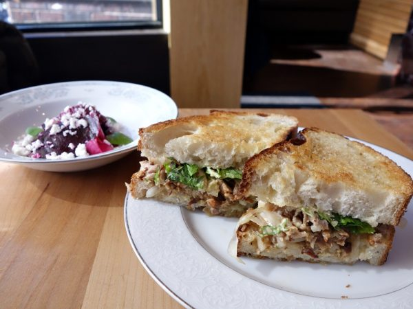 Coquine's roasted beets and pork shoulder sandwich