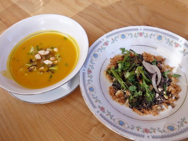 Carrot soup and Beluga lentils at Coquine