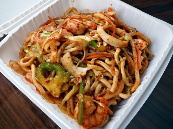 Seafood noodles from the Noodle House food cart