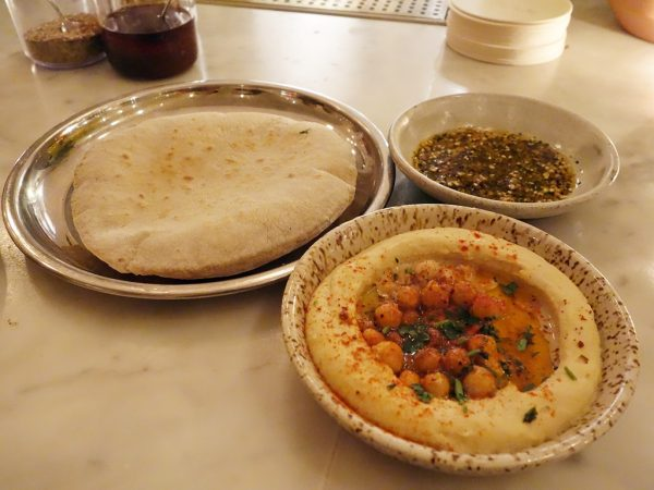 Flatbread and hummus at Tusk
