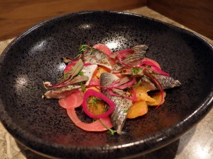 Pickled herring and beet salad at Kamonegi